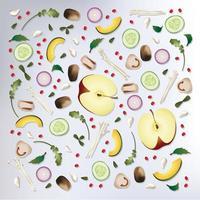 Fundo colorido de frutas e vegetais
