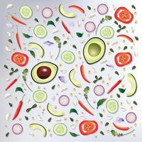 Teste padrão colorido fundo de alimentos crus