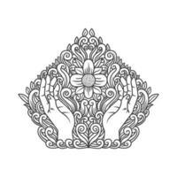 Linhas ornamentadas mãos orando design vetor