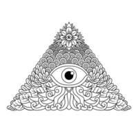 Emblema espiritual dos illuminati do terceiro olho místico vetor