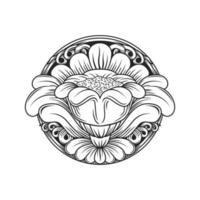 Teste padrão floral circular de efeito de madeira esculpida vetor