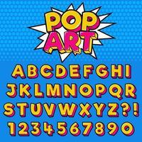 Conjunto de tipografia de estilo pop art