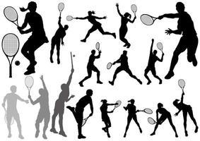 Os jogadores de tênis mostram em silhueta o grupo isolado em um fundo branco. vetor