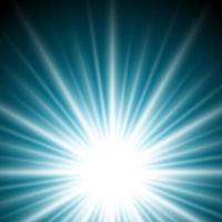 Efeito de luz sunburst ou raios solares em fundo azul escuro.