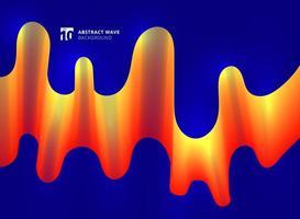 Linhas de onda amarela e vermelha suave curva sobre fundo azul