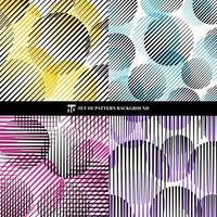 Conjunto de padrão de listras pretas abstratas com linhas e círculos de velocidade