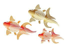 Goldfishes definido no estilo tradicional japonês. vetor