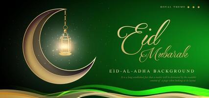 Fundo de banner de luxo real verde Eid Mubarak vetor