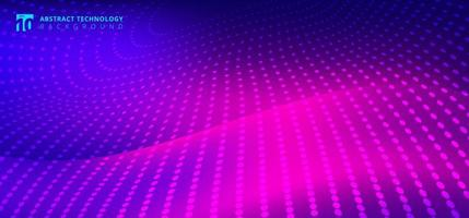 Padrão de pontos radiais de tecnologia futurista em movimento borrado onda vetor