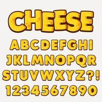 Conjunto de alfabeto de design de estilo de queijo vetor