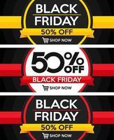 Conjunto de design de venda sexta-feira negra vetor
