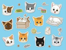 Conjunto de coleta de etiqueta de gato bonito vetor