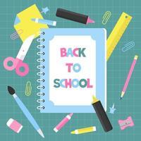 Caderno de volta ao cartaz da escola vetor