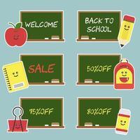 Etiquetas de desconto escolar para volta às aulas vetor