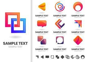Conjunto de formas geométricas de logotipo moderno vetor