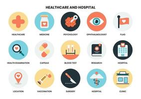 Conjunto de ícones circulares de saúde e hospital vetor