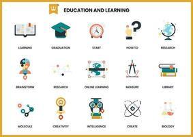 Conjunto de ícones de educação de aprendizagem vetor