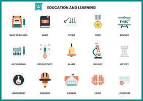 Conjunto de educação e aprendizagem de ícones para negócios vetor