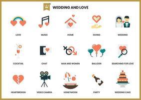 Conjunto de ícones de casamento para negócios vetor