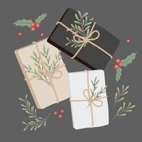 Conjunto de presentes de Natal vetor