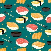 padrão sem emenda de sushi vetor