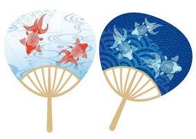 Conjunto de fãs de papel com padrões tradicionais japoneses vetor