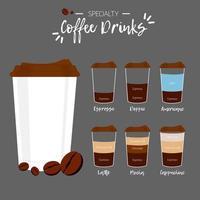 Conjunto de bebidas de café especiais