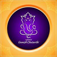 Ouro brilhante e saudação circular roxa de Ganesh Chaturthi vetor