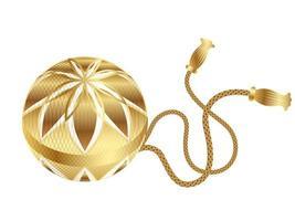 Feriado de ano novo japonês de Temari-ball de ouro vetor