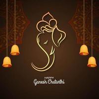 Ganesh Chaturthi marrom saudação com sinos vetor