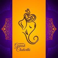 Lord ganesha festivo fundo laranja brilhante vetor