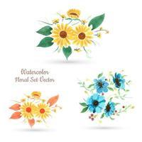 Conjunto de flores em aquarela vetor