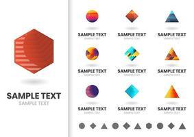 Conjunto de logotipos geométricos coloridos simples vetor