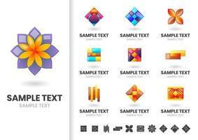 Conjunto de logotipos de forma floral geométrica