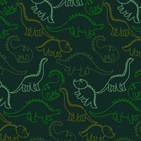 Padrão de dinossauro de contorno verde vetor