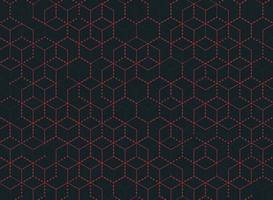 Padrão de hexágono de contorno abstrato ponto vermelho