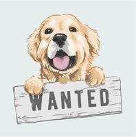 cão dos desenhos animados, segurando a ilustração de sinal de procurado