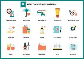 Conjunto de elementos de saúde e hospital