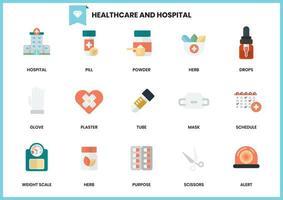Conjunto de hospital e elementos de saúde em branco