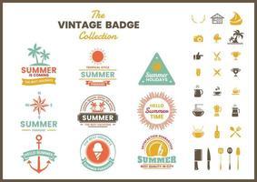 Conjunto de emblemas retrô de verão colorido vetor