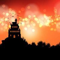 paisagem assustadora do castelo com céu laranja