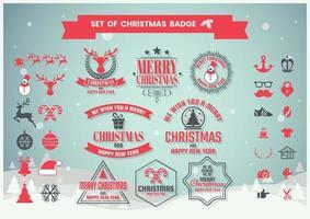 Conjunto de ícones de Natal e emblemas vetor