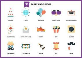 Conjunto de ícones de festa e cinema