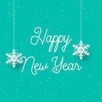 Flocos de neve de suspensão feliz ano novo vetor