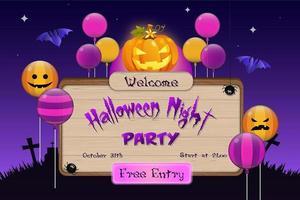 Fundo de modelo de placa de convite de festa de noite de halloween