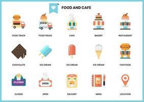 Conjunto de ícones de comida e restaurante para negócios vetor
