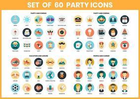 Conjunto de ícones de festa e carreira