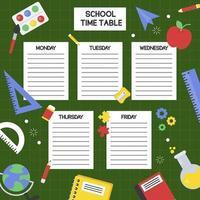 Horário de preenchimento escolar vetor