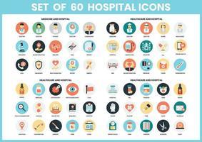 Conjunto de ícones de hospital circular vetor