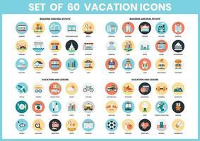 Conjunto de ícones de férias circulares vetor